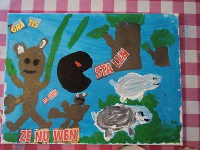 Schilderij van een leerling om beter te leren spellen